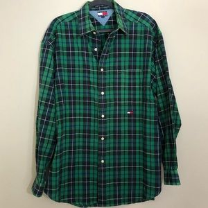 Tommy jeans blue/green plaid flannel button down L